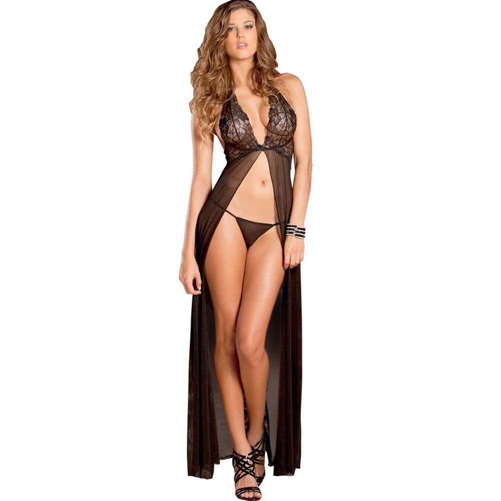 Rene Rofe Evening Halter Lace Gown and G-String Set Medium/Large Black - View #1