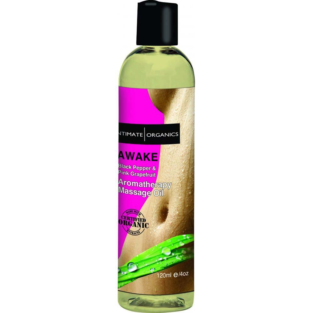 Intimate Organics Awake Aromatherapy Massage Oil 4 Fl.Oz Black Pepper And Pink Grapefruit - View #2
