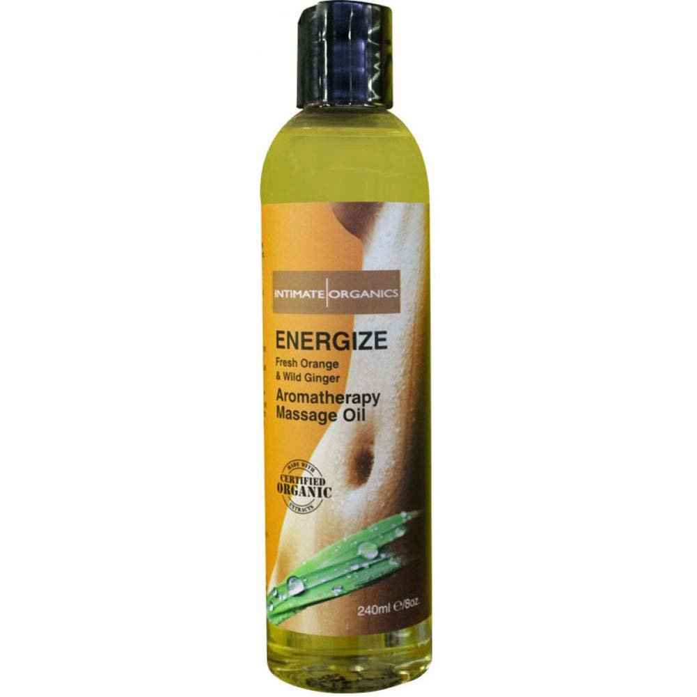Intimate Organics Energize Aromatherapy Massage Oil 8 Fl.Oz Fresh Orange and Wild Ginger - View #1