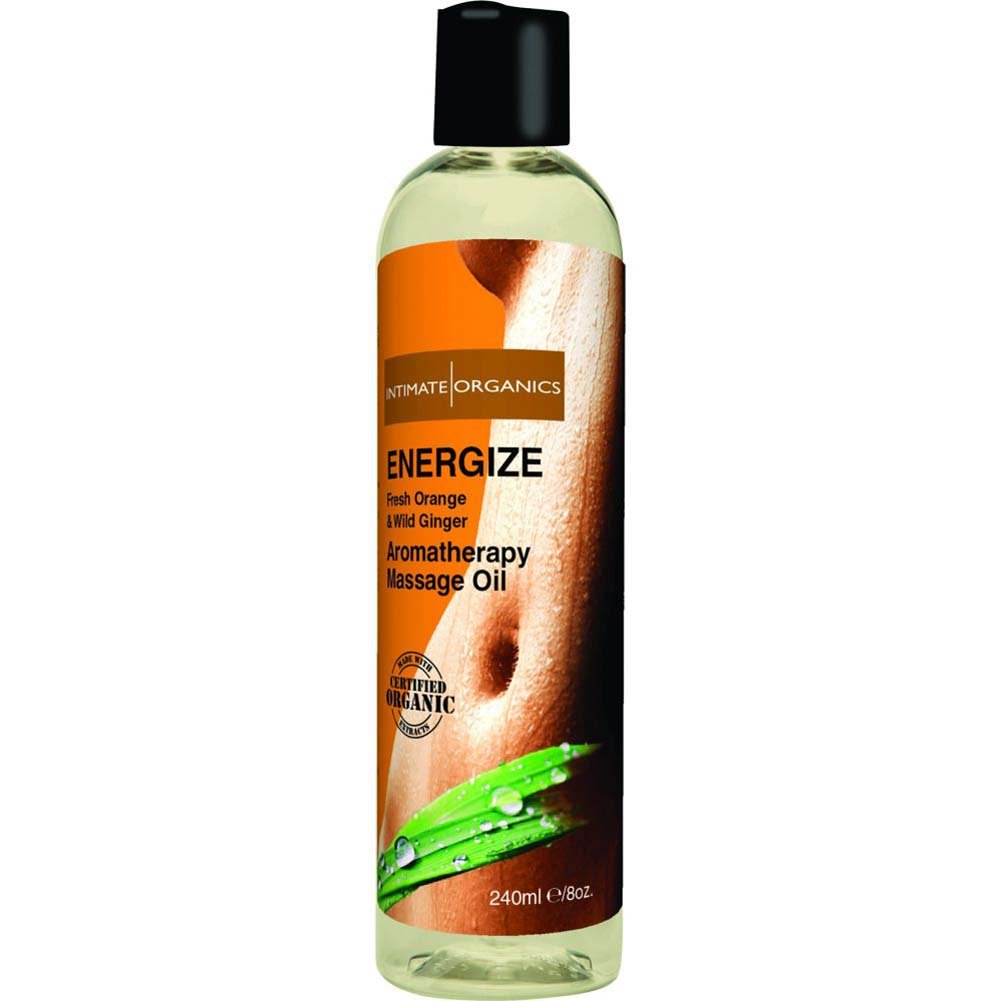 Intimate Organics Energize Aromatherapy Massage Oil 8 Fl.Oz Fresh Orange and Wild Ginger - View #3