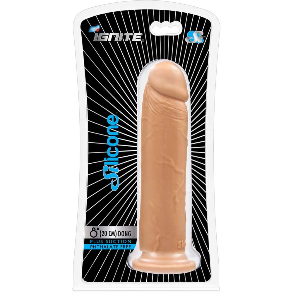 "Straight Realistic Silicone Dong with Suction Base 8"" Natural - View #1"