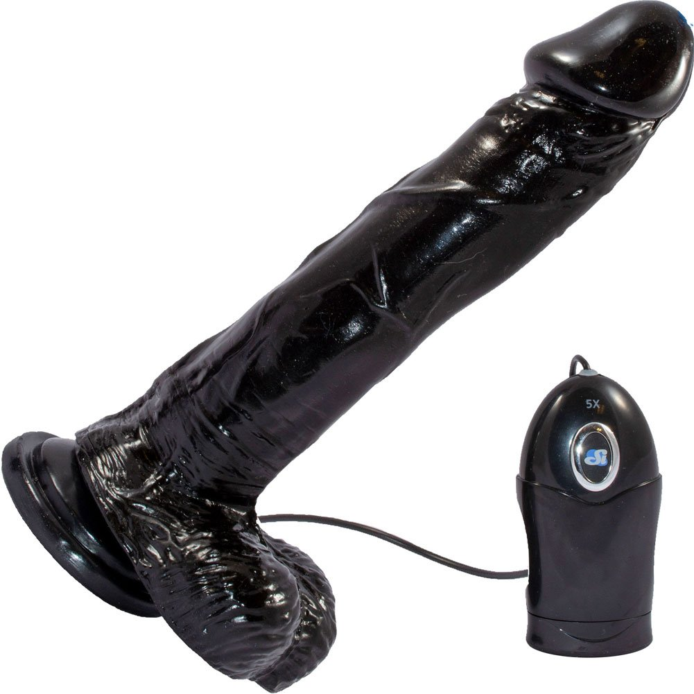 "Realistic 9"" Vibrating Cock with Suction Mount Base Black - View #2"