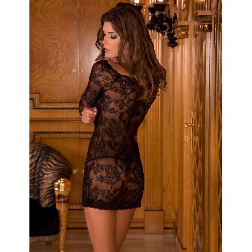Rene Rofe Long Sleeve Chemise Dress Set One Size Black - View #2