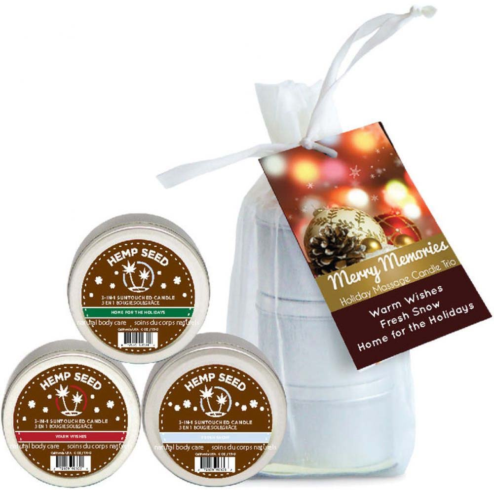 Earthly Body Holiday Candle Trio Gift Bag Warm Wishes Fresh Snow Home Holidays 2 Oz Each - View #1