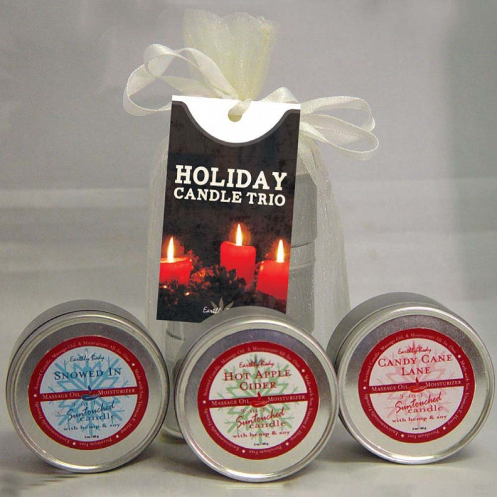 Earthly Body Holiday Candle Trio Gift Bag Candy Cane Harvest Moon Sugar Cookie 2 Oz Each - View #1