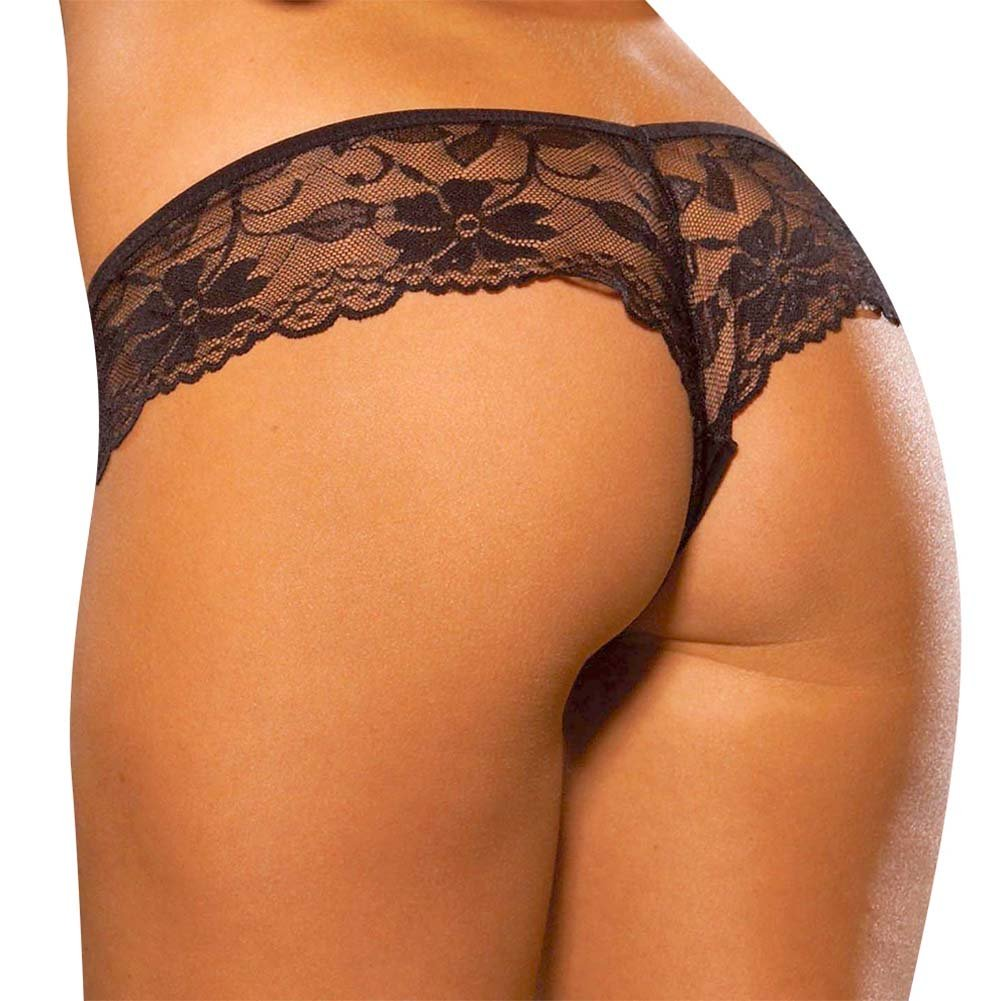 Hustler Lace Booty Panty Medium/ Large Black - View #2