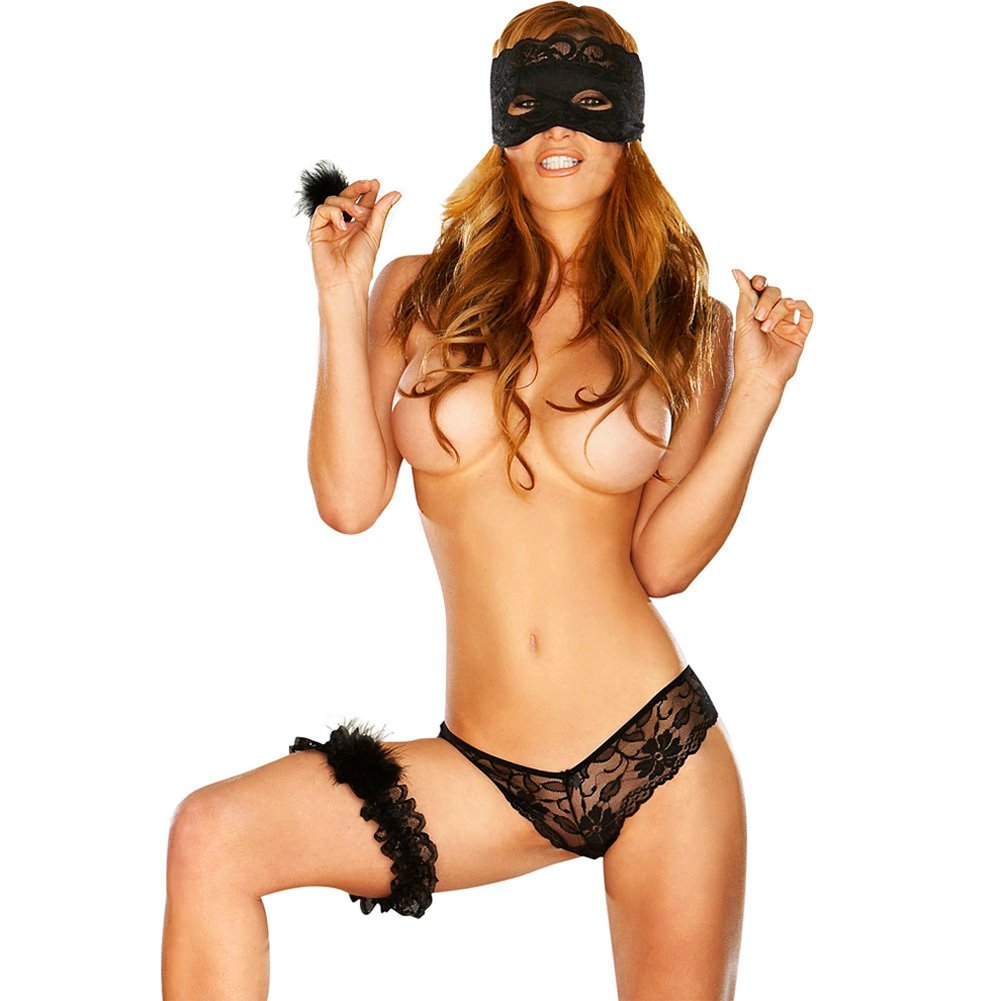 Hustler Lingerie Sexy Seduction 4 Piece Set One Size Black - View #2