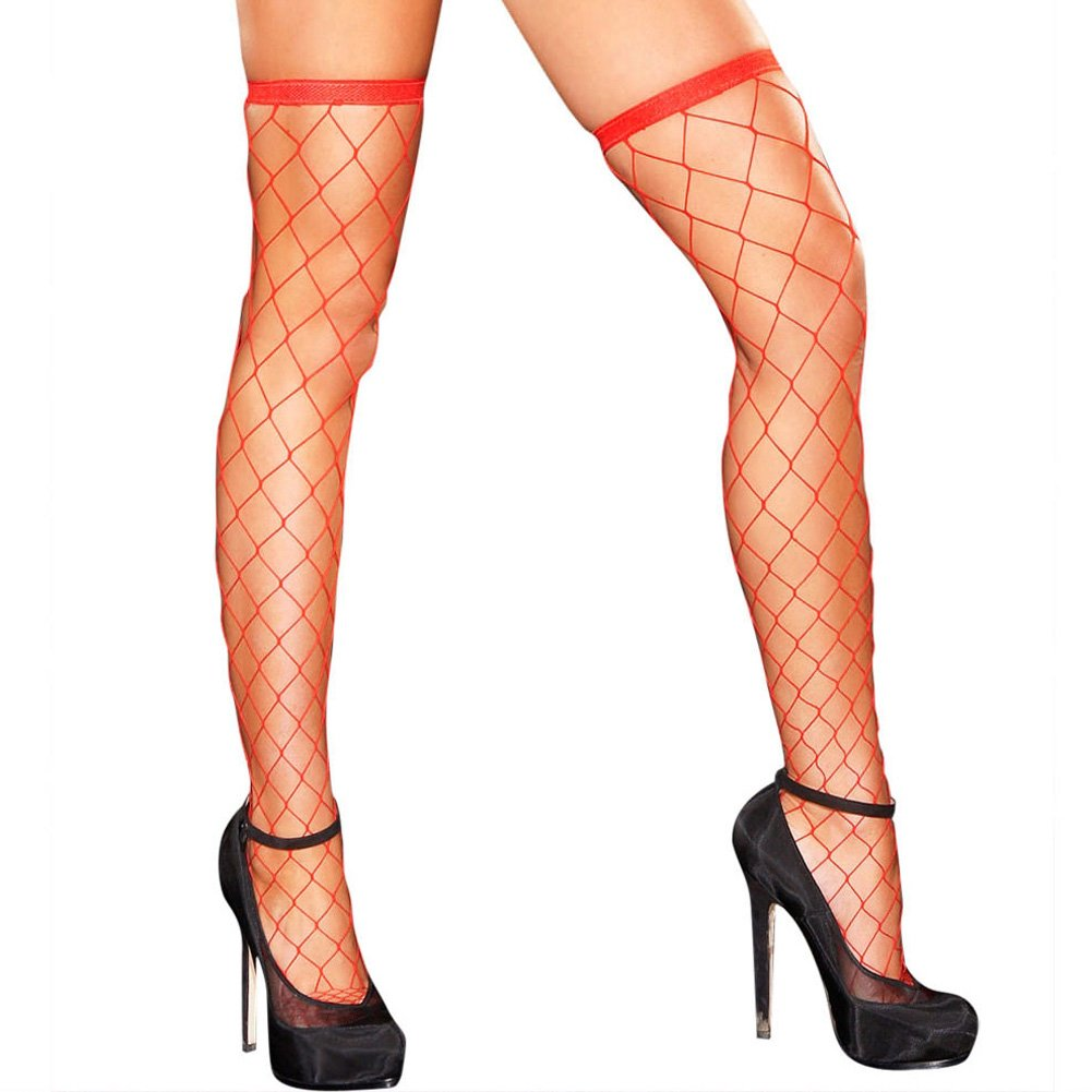 Hustler Fencenet Thigh High Stocking One Size Fits Most Red - View #1