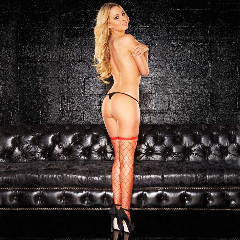 Hustler Fencenet Thigh High Stocking One Size Fits Most Red - View #3