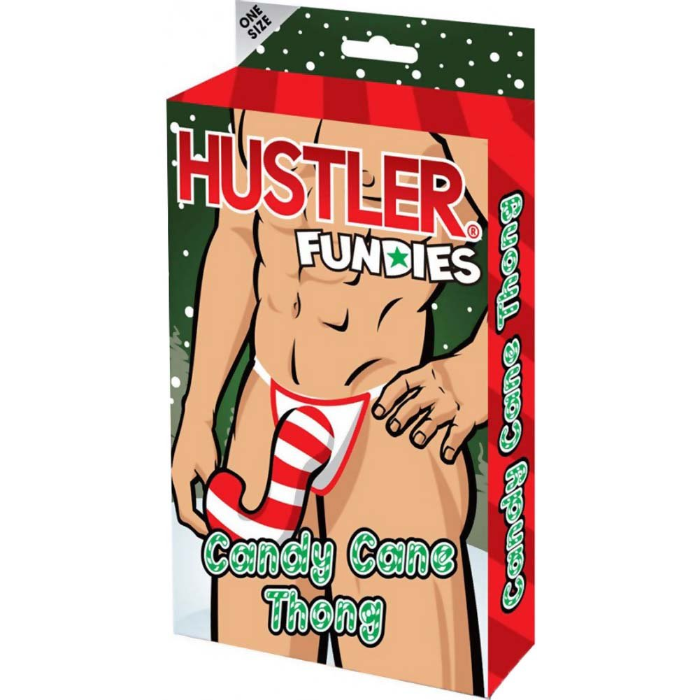 Hustler Fundies Candy Cane Male Warmer Thong for Christmas One Size for Men - View #3