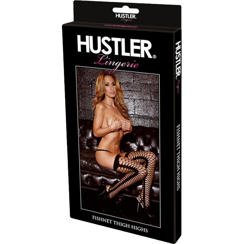 Hustler Fishnet Thigh Highs One Size Black - View #3