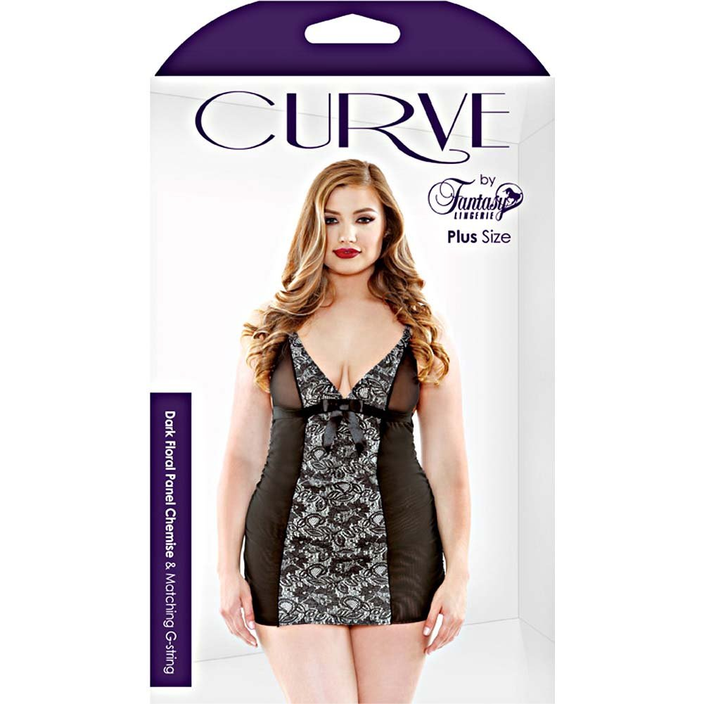 Dark Floral Panel Chemise Set with G-String Plus Size 1X/2X Black - View #3