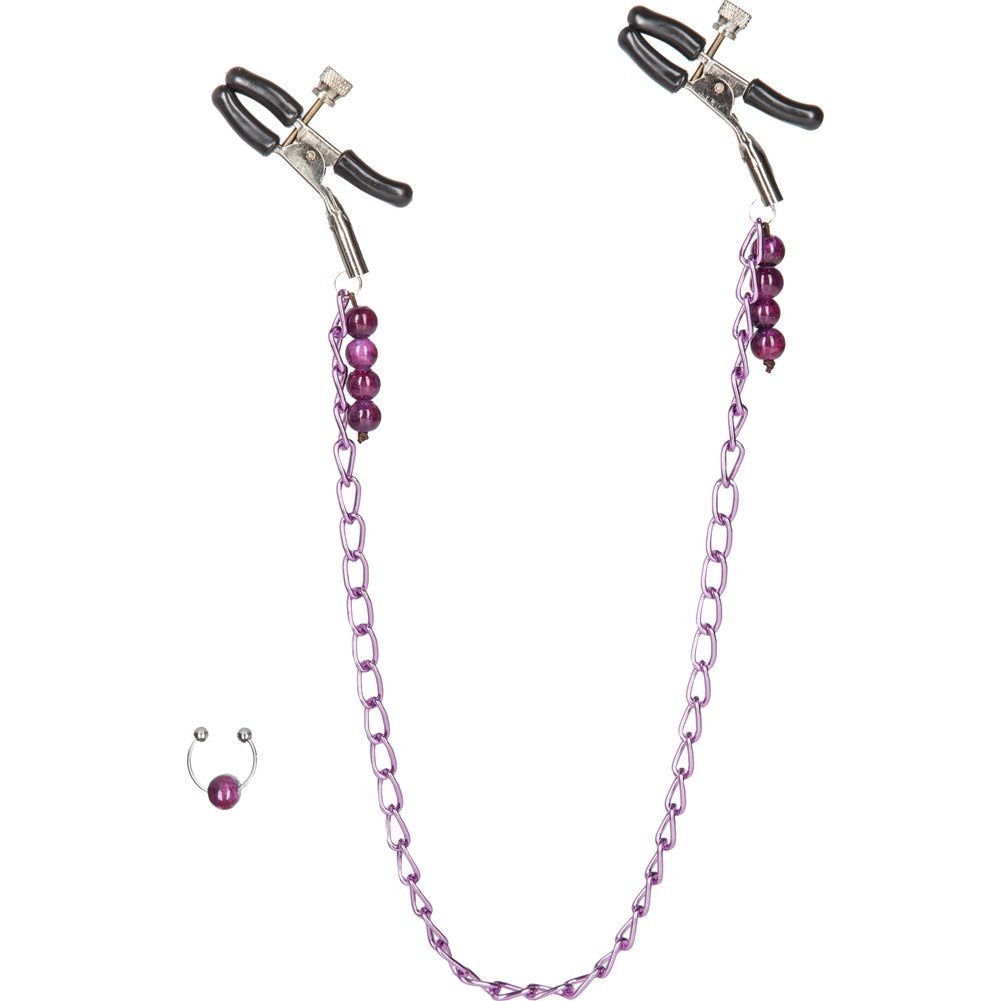 California Exotics Nipple Clamps and Chain with Navel Ring Purple - View #2