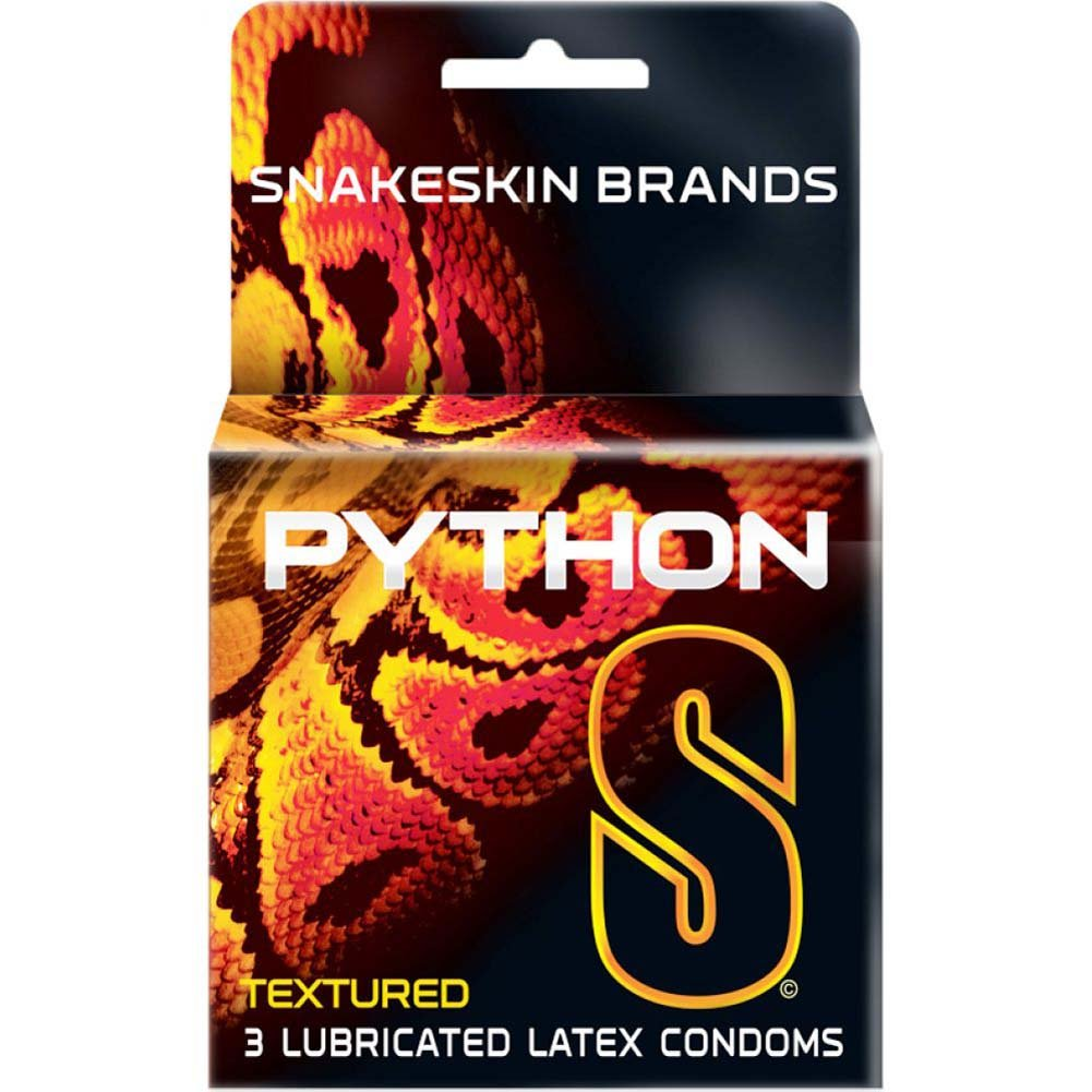 Snakeskin Python Textured Lubricated Condoms 3 Pack - View #1