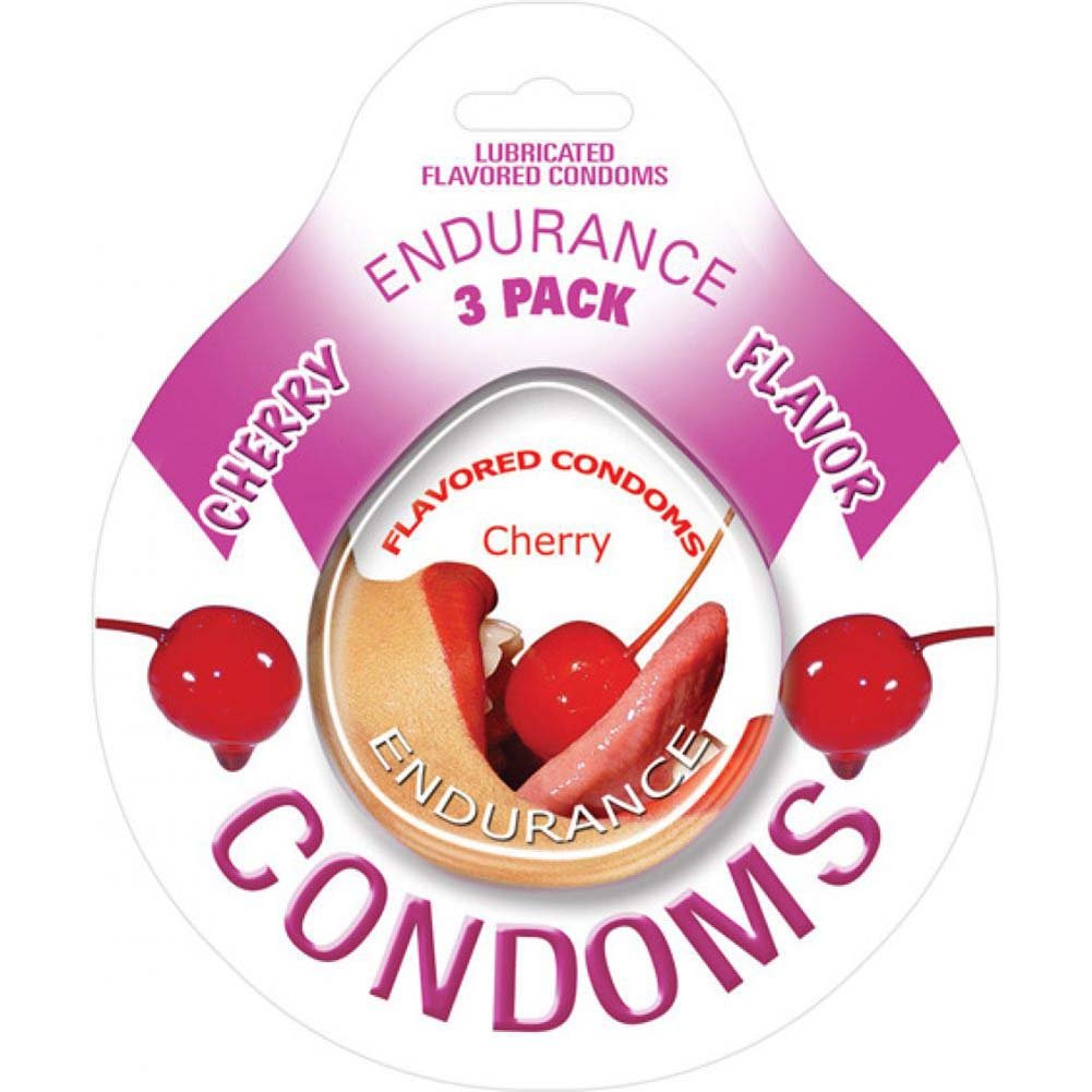 Endurance Flavored Condom 3 Pack Cherry - View #1