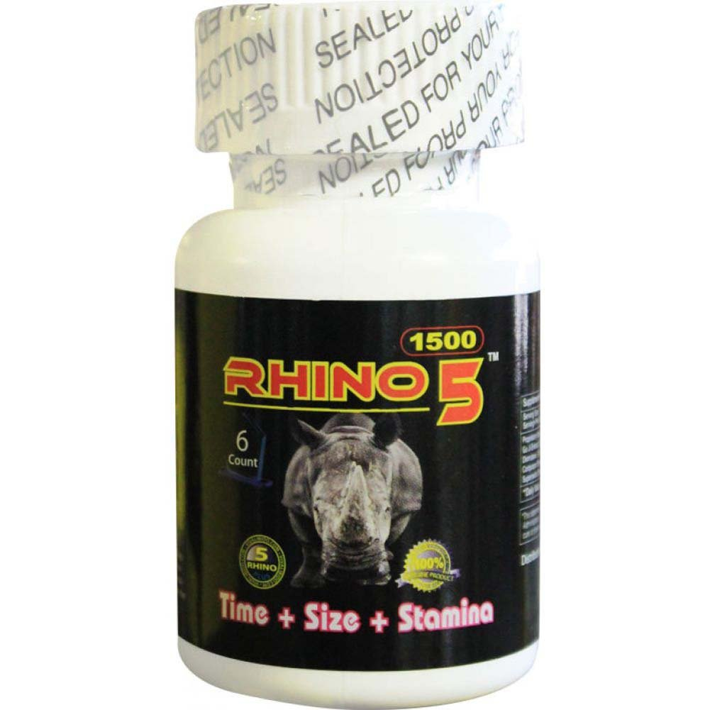 Rhino 5 Sexual Male Enhancer Supplement Bottle of 6 Pills - View #1