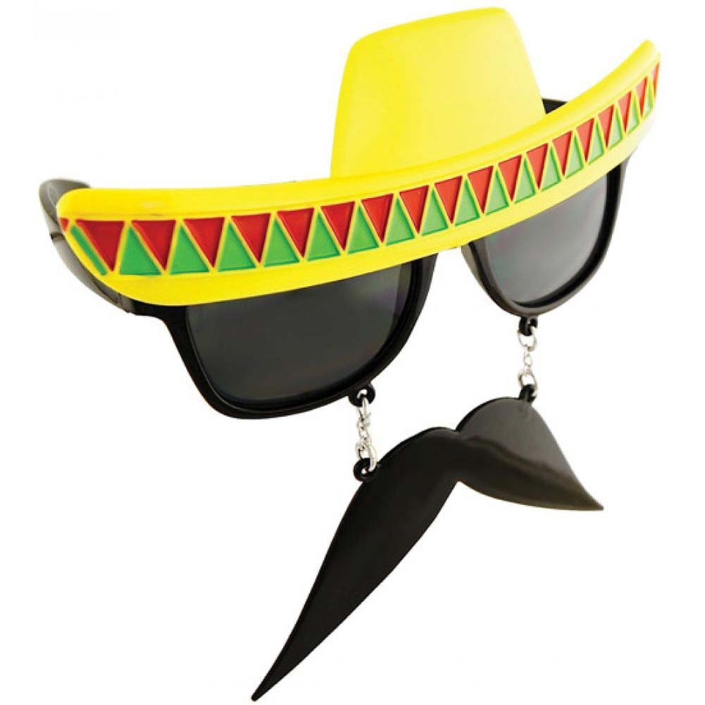 Sun Staches Sunglasses with an Attached Moustache Mexican - View #1