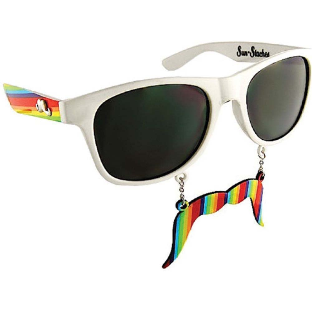 Sun Staches Sunglasses with an Attached Moustache Rainbow - View #1
