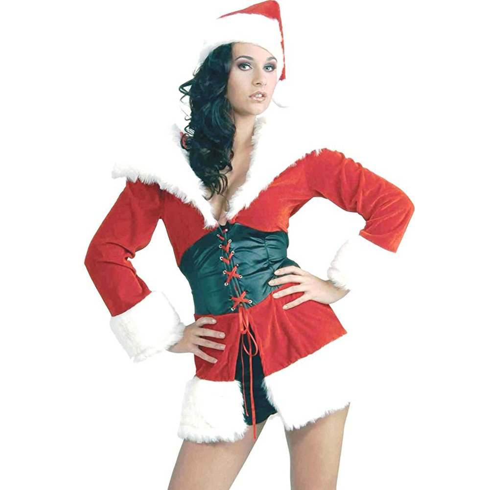 Short and Sweet Santa Fur Trimmed Costume Medium/Large Red - View #1