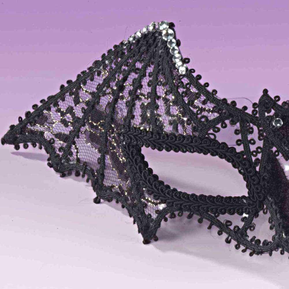 Forum Mardi Gras Venetian Bat Half Mask One Size Black - View #1