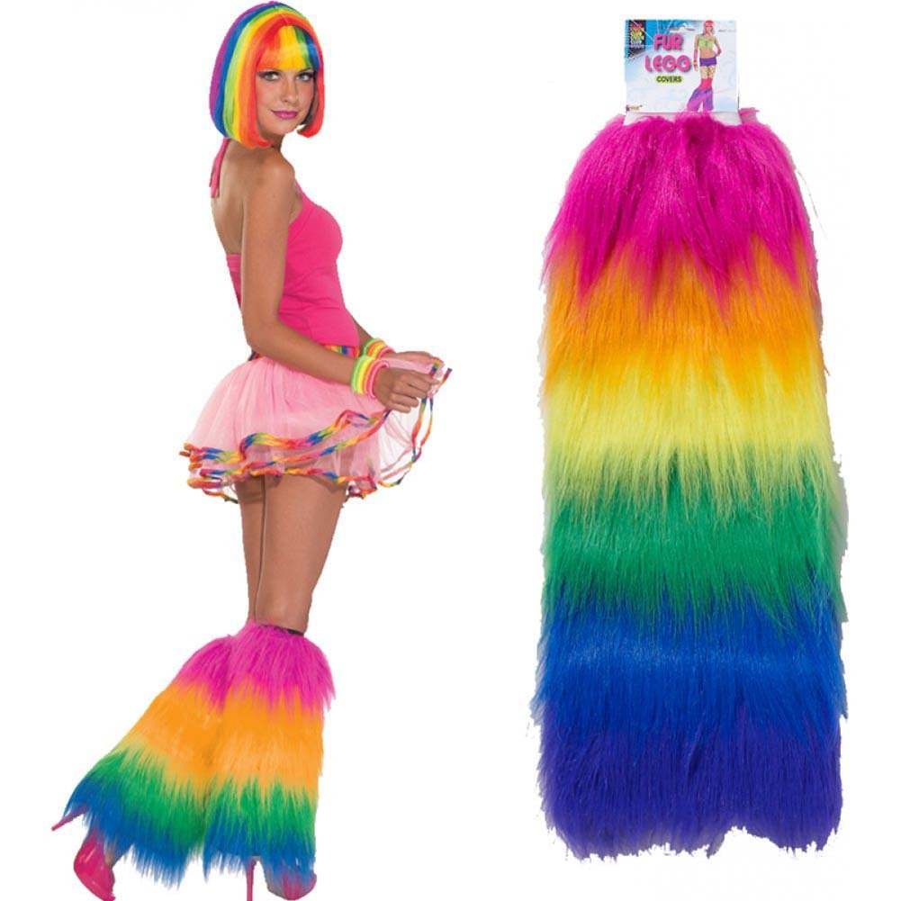 Forum Novelties Rainbow Fur Leg Covers XL Multicolored - View #1