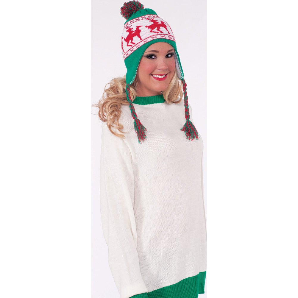 Forum Novelties Reindeer Games Laplander Hat One Size Green and Red - View #2