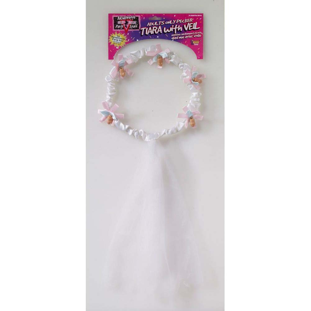 Forum Novelties Bachelorette Tiara and Veil with Peckers One Size White - View #1