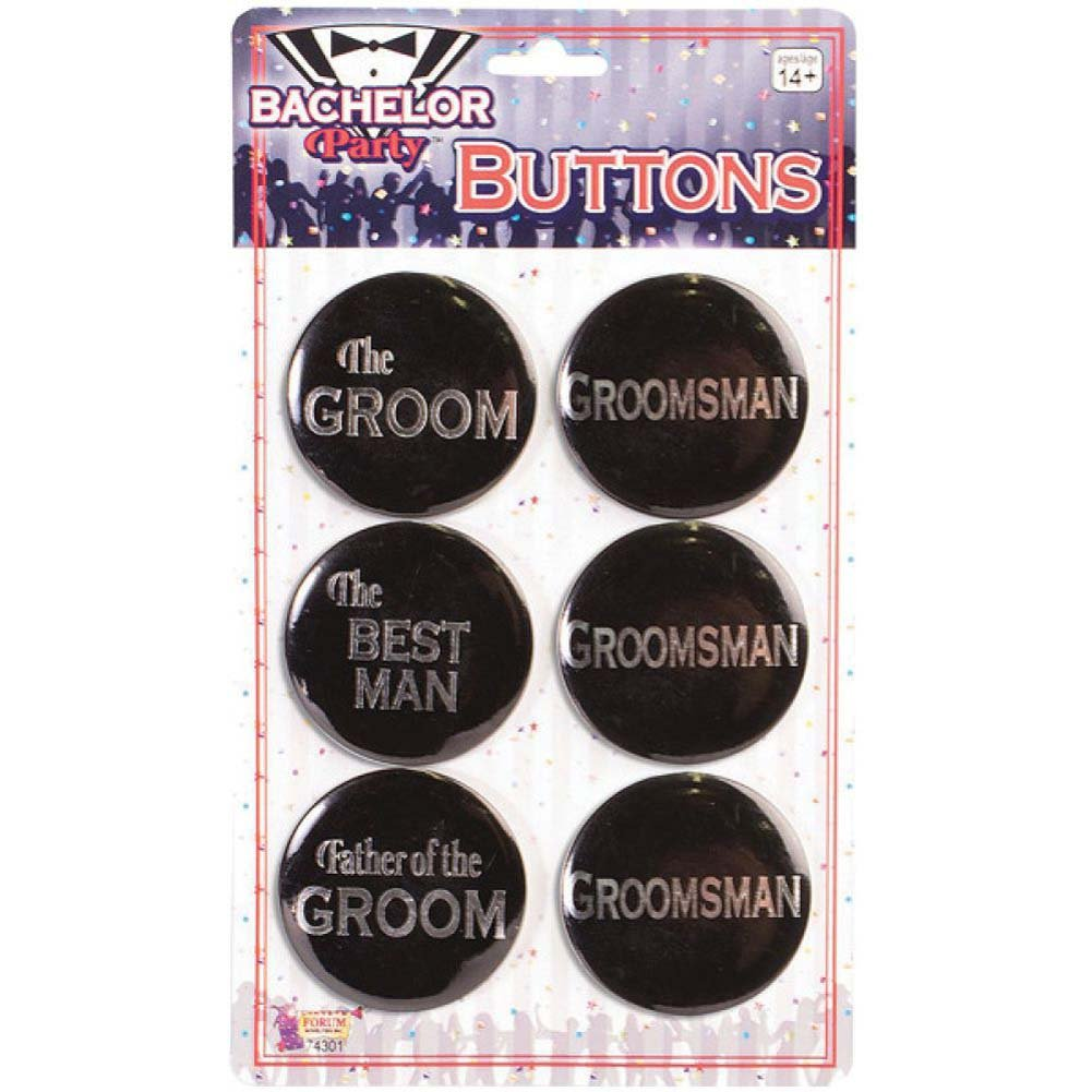 Forum Novelties Bachelor Party Groom Buttons Assorted Pack of 6 Black - View #1