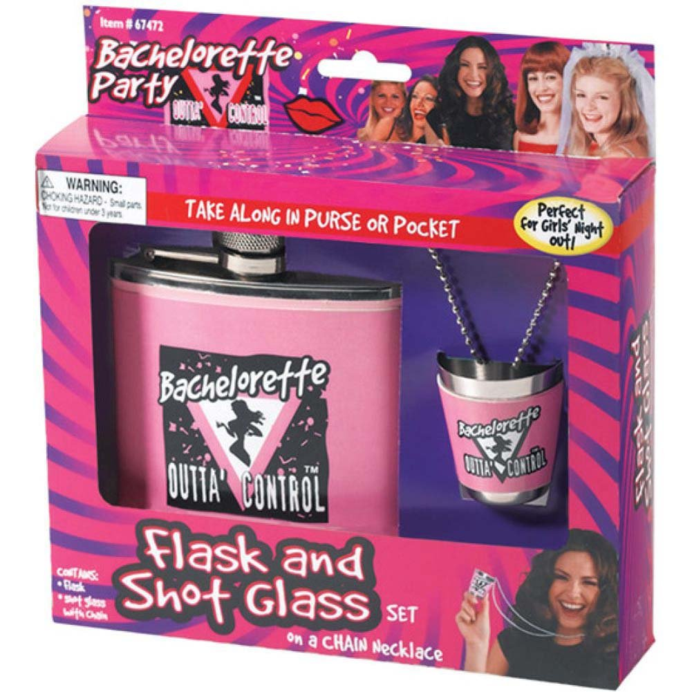 Forum Novelties Bachelorette Party Flask and Shot Glass Pink - View #1