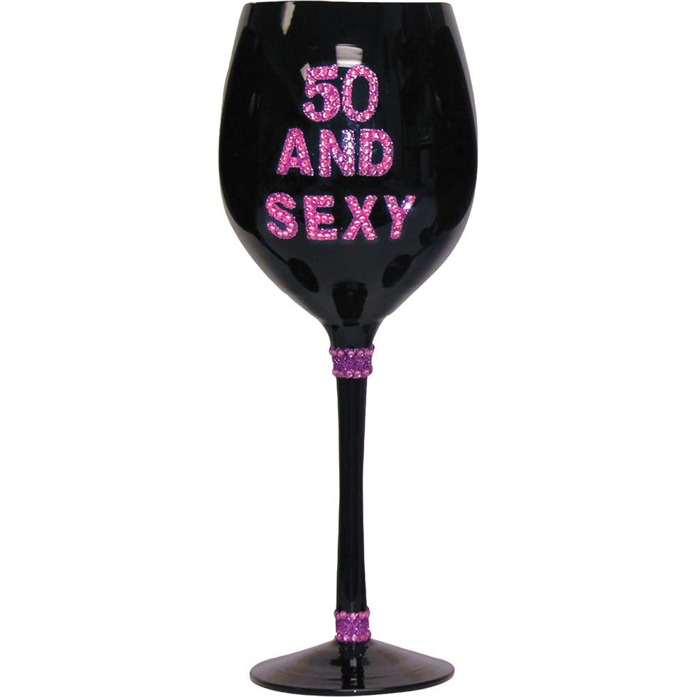 Forum Novelties 50 Sexy Wine Glass Black - View #1