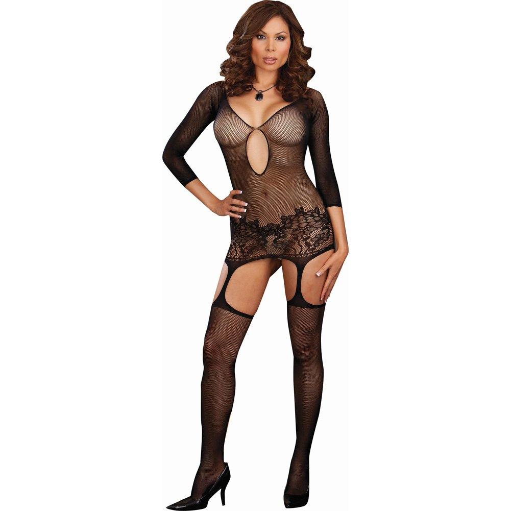 Dreamgirl Fishnet Garter Dress with Lace Hem and Attached Stockings Plus Size Black - View #1
