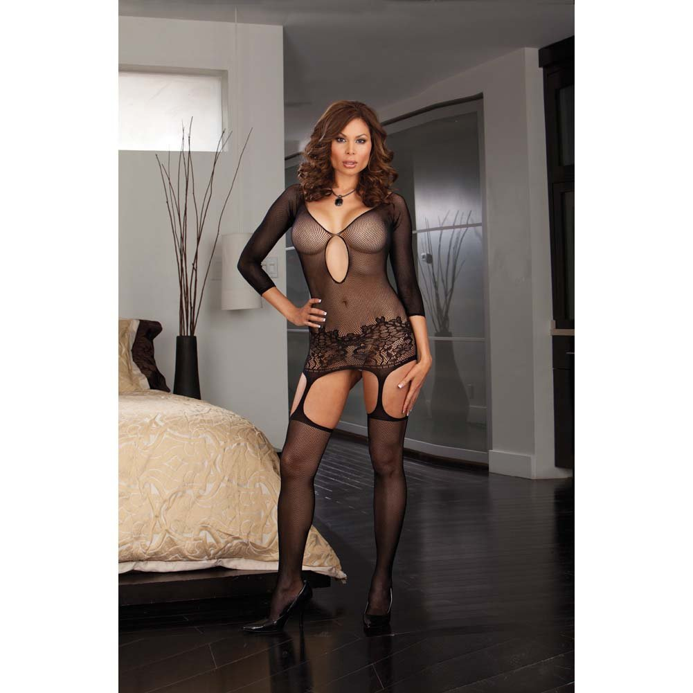 Dreamgirl Fishnet Garter Dress with Lace Hem and Attached Stockings Plus Size Black - View #3