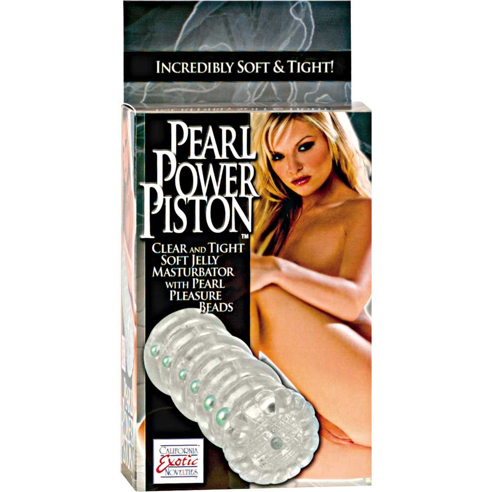"California Exotics Pearl Power Piston Masturbator 6"" Clear - View #1"