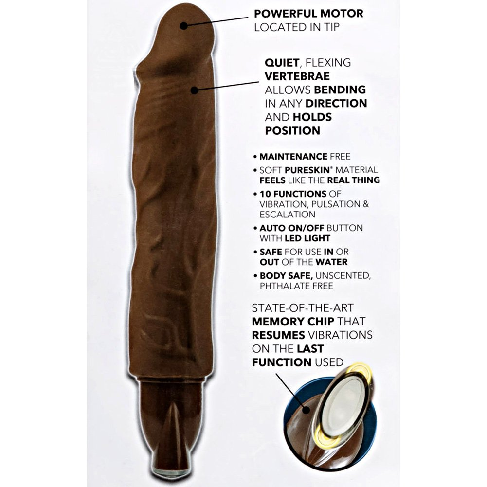 "California Exotics Pure Skin Bendie Vibrator Brown 10-Function 7"" - View #1"