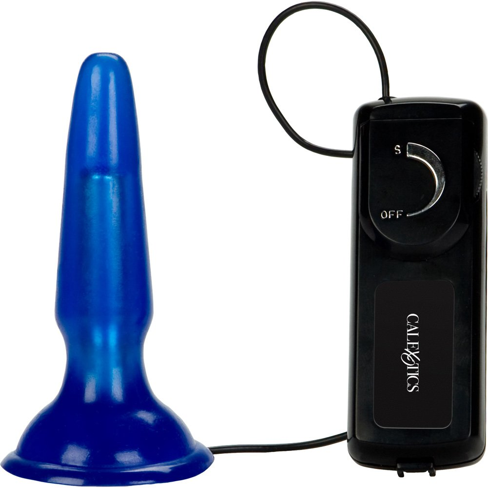 "California Exotics Tush Teaser Vibrating Butt Plug 3.5"" Blue - View #2"