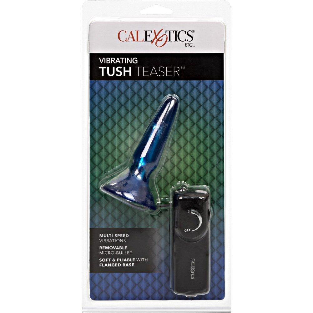 "CalExotics Vibrating Tush Teaser Butt Plug 3.5"" Blue - View #4"