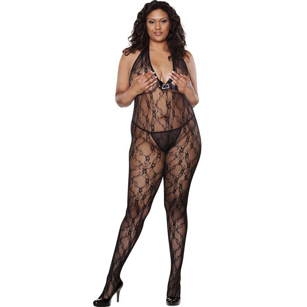 Lace Floral Deep V Bodystocking With Rhinestone Queen Size Black - View #1