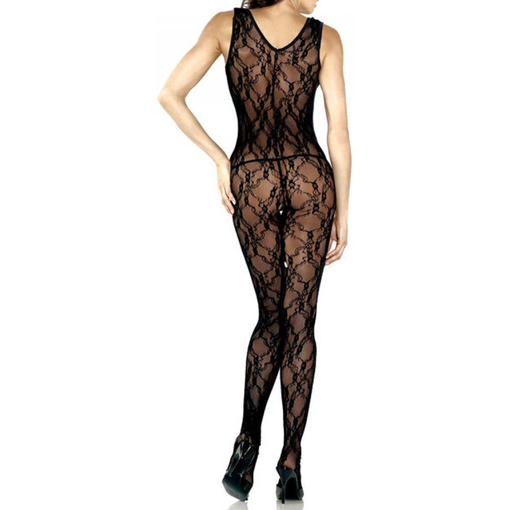 Lace Floral Deep V Bodystocking With Rhinestone One Size Black - View #2