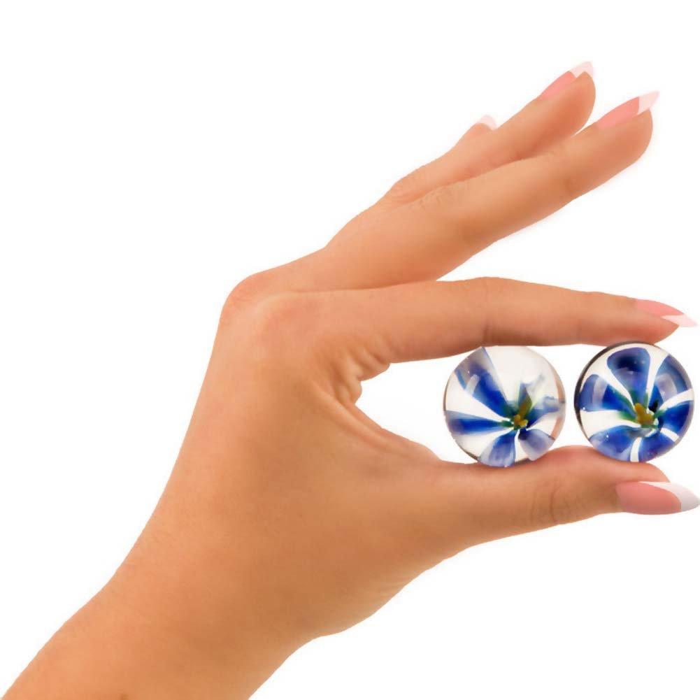 TLC CyberGlass Ben Wa Balls - Blue Blossom - View #2