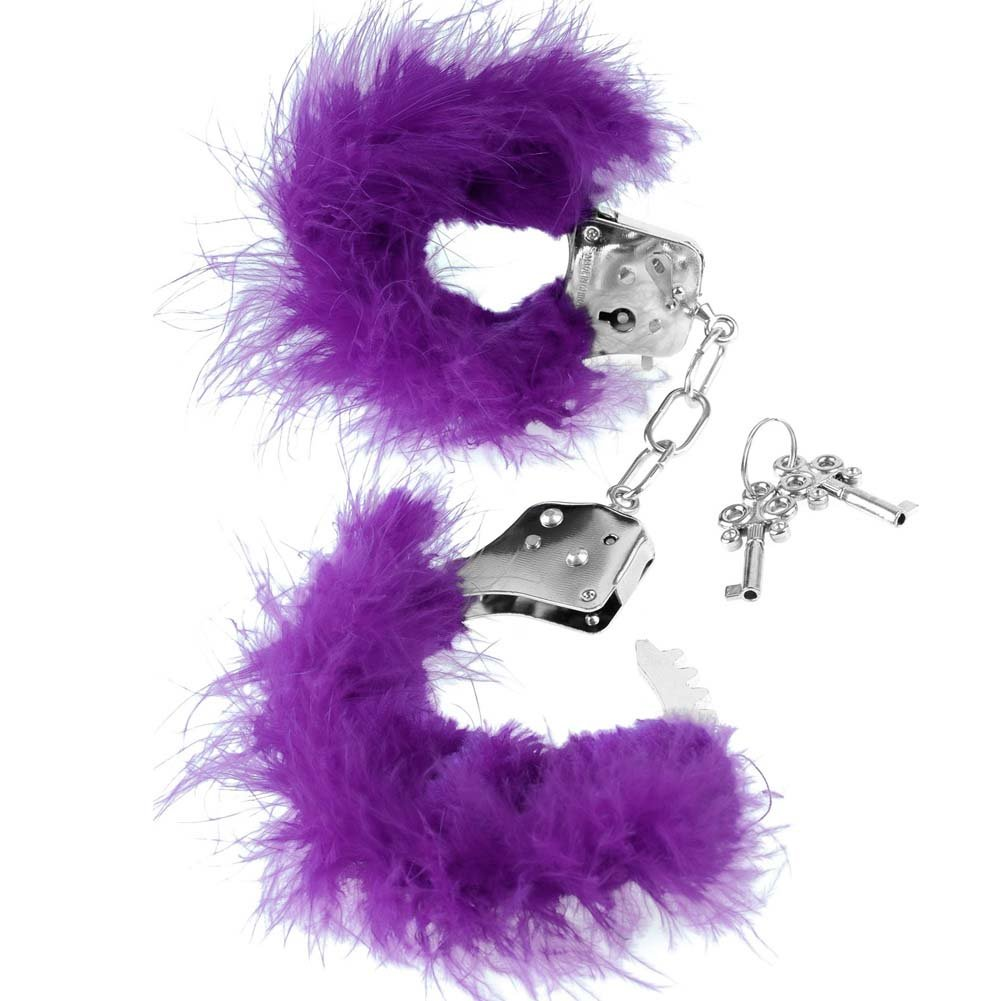 Pipedream Fetish Fantasy Series Feather Love Cuffs Purple - View #2