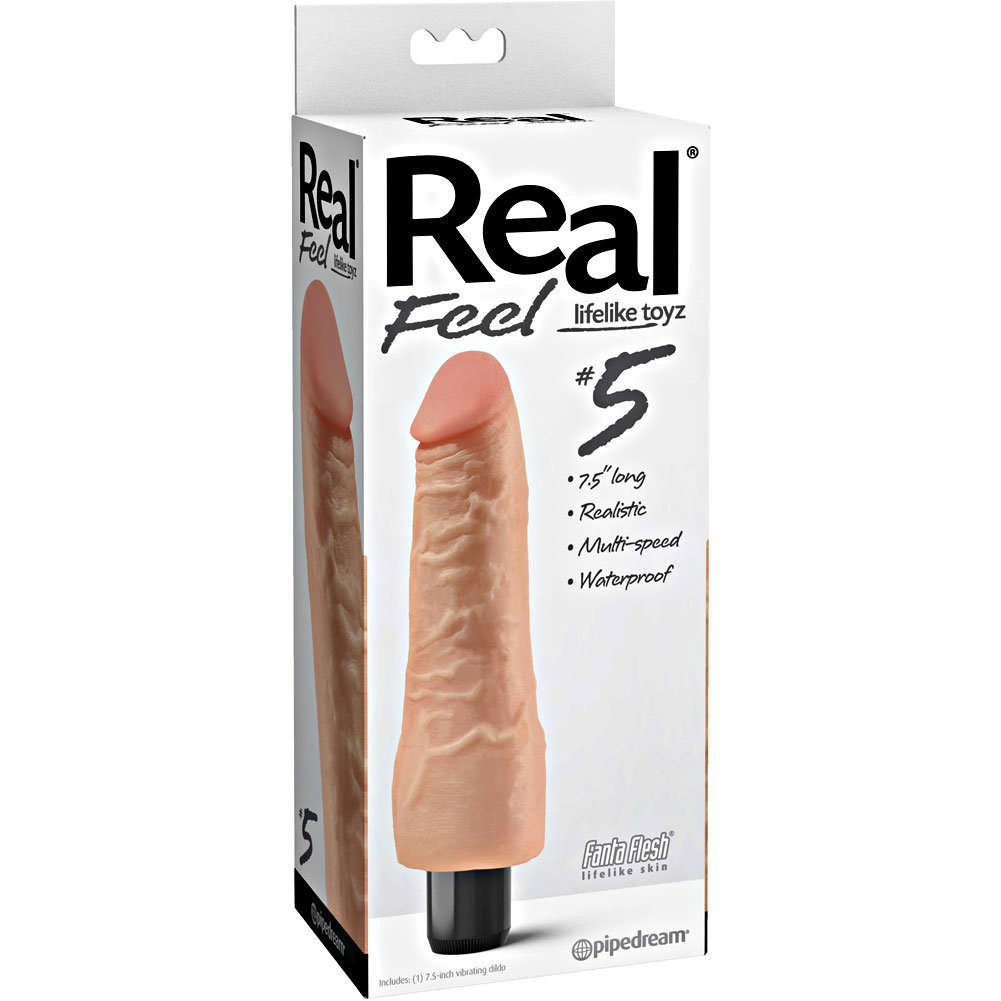 "Pipedream Real Feel No. 5 Long 7.5"" Waterproof Vibe Flesh Multi Speed - View #1"