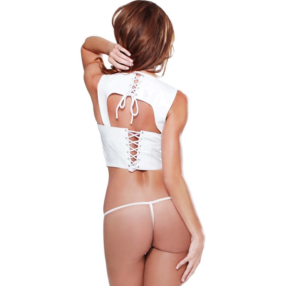 Pipedream Fetish Fantasy Open Bust Corset W/Lace-Up Back Closure G-String White MD - View #2