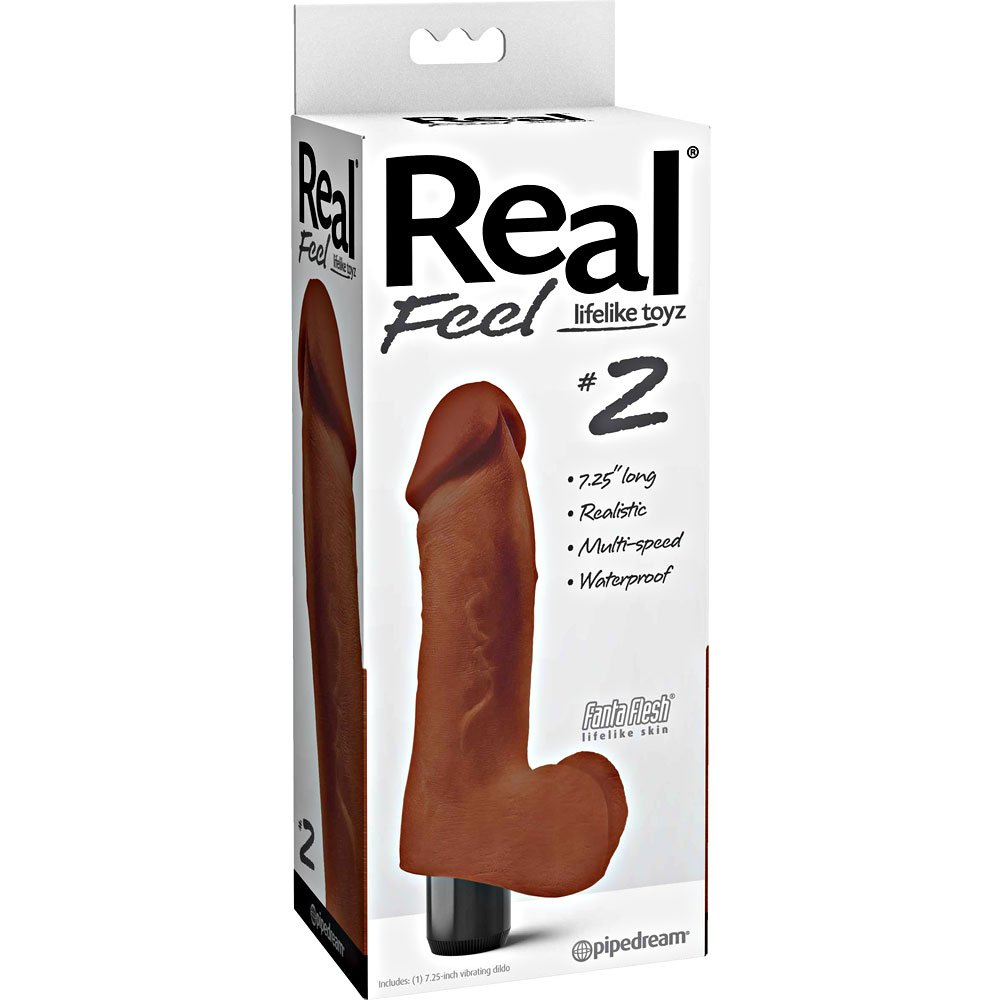 "Pipedream Real Feel No.2 Long Waterproof Multi-Speed Vibrator 8"" Brown - View #1"