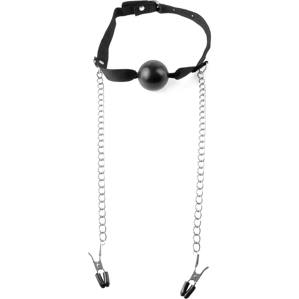 "Pipedream Fetish Fantasy Series Ball Gag And Nipple Clamps 2"" Black - View #2"