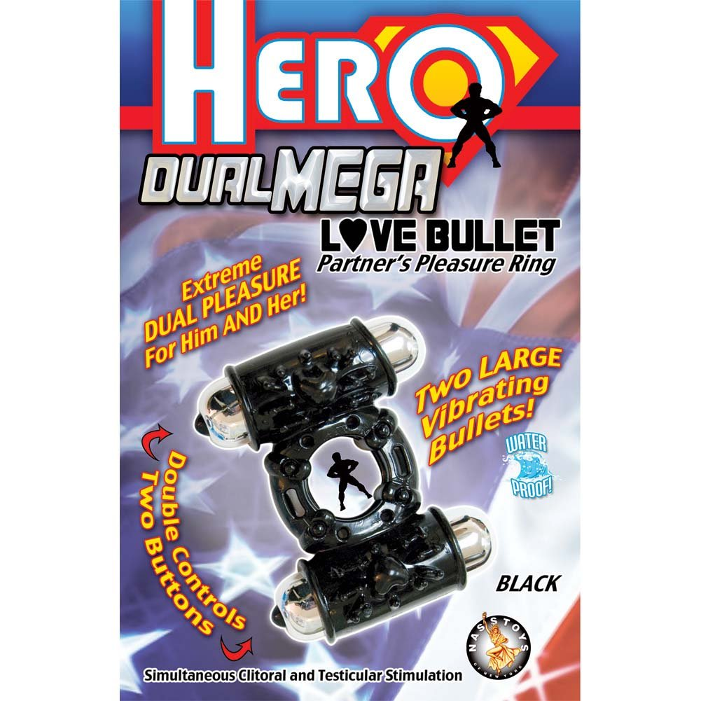 Nasstoys Hero Dual Mega Love Bullet Vibrating Cockring Black - View #1