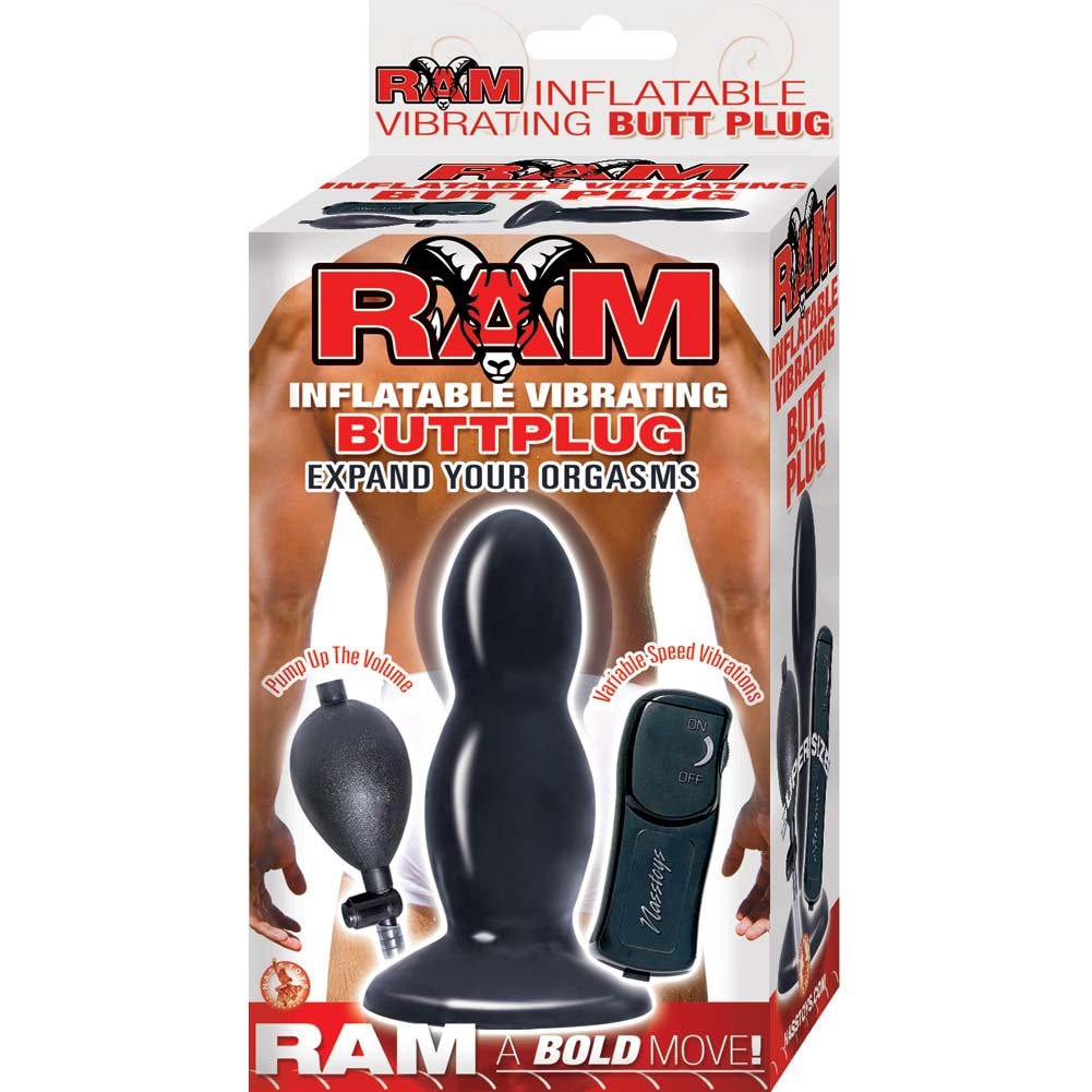 "Nasstoys Ram Inflatable Vibrating Butt Plug 5"" Black - View #1"