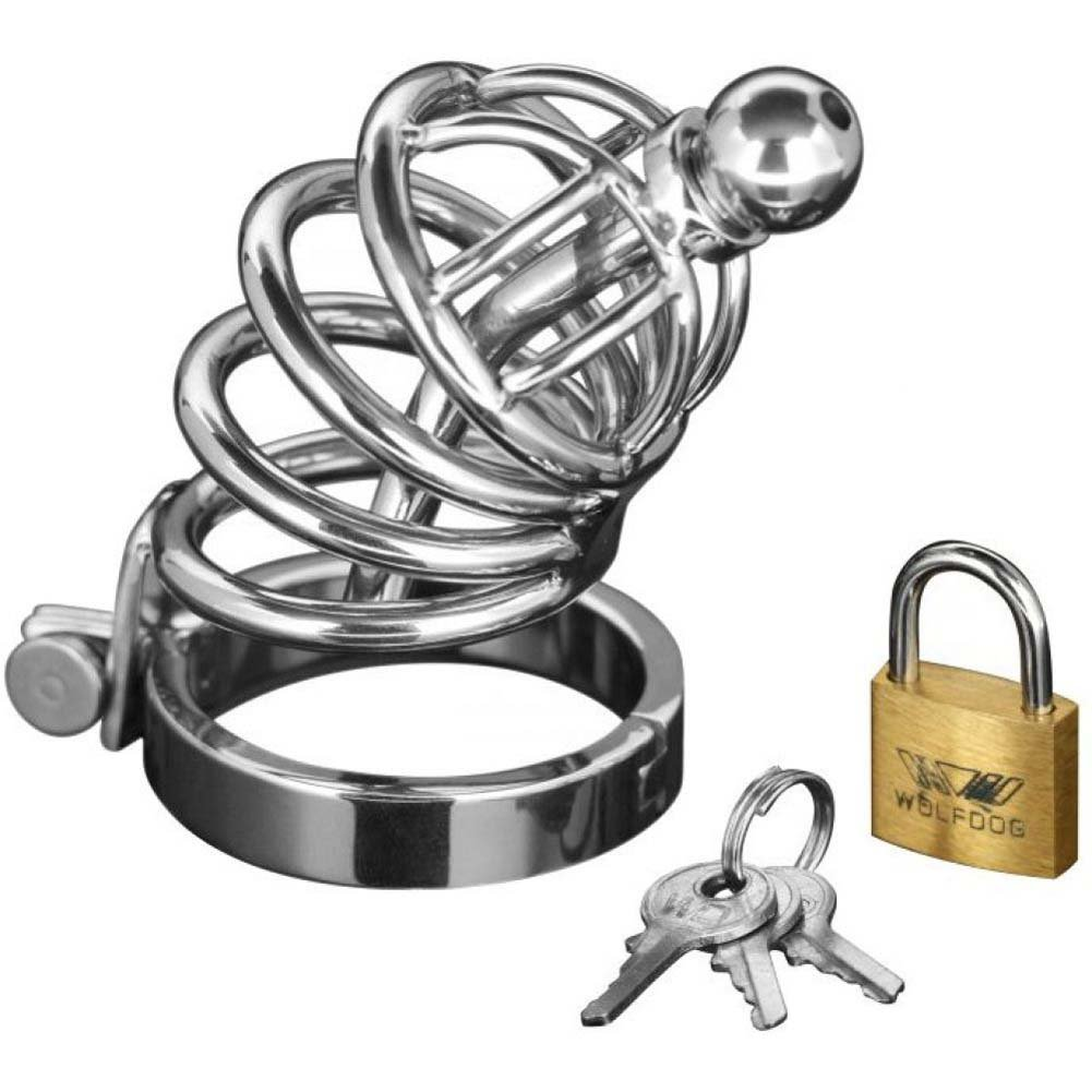 Master Series 4 Ring Chastity Cage with Urethral Plug Small/Medium - View #2