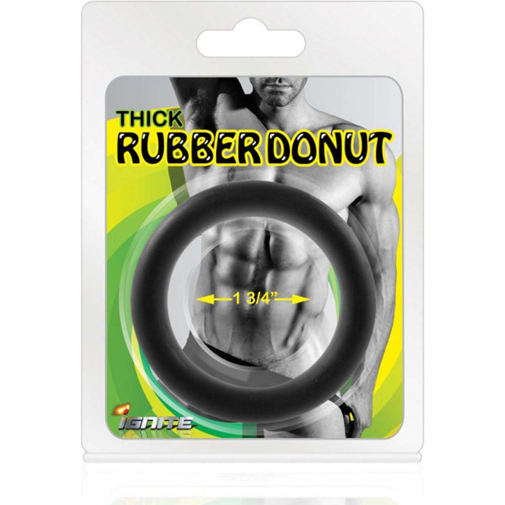 "SI Novelties Thick Rubber Donut 1.75"" Cock Ring Black - View #2"