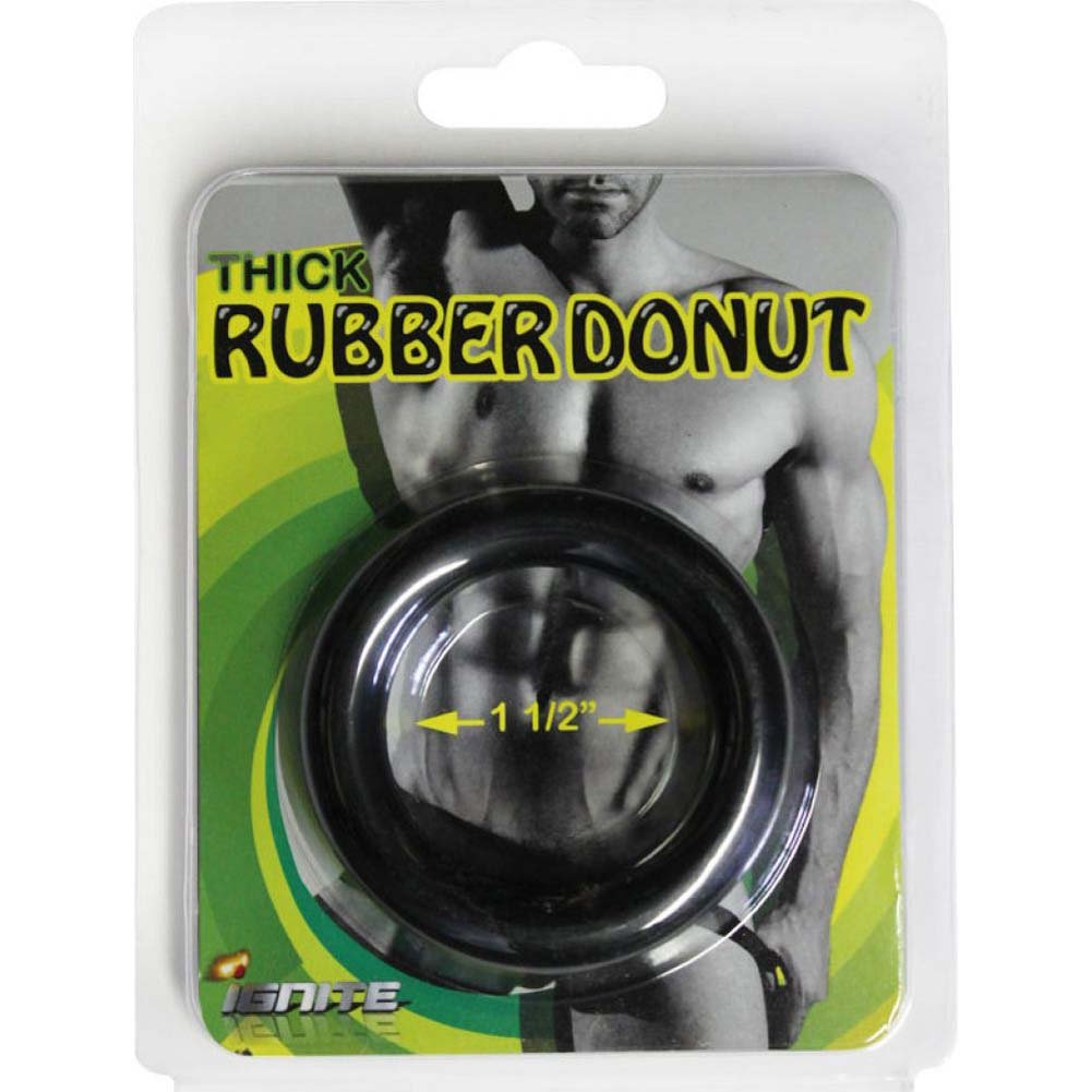 "SI Novelties Thick Rubber Donut 1.5"" Cock Ring Black - View #1"