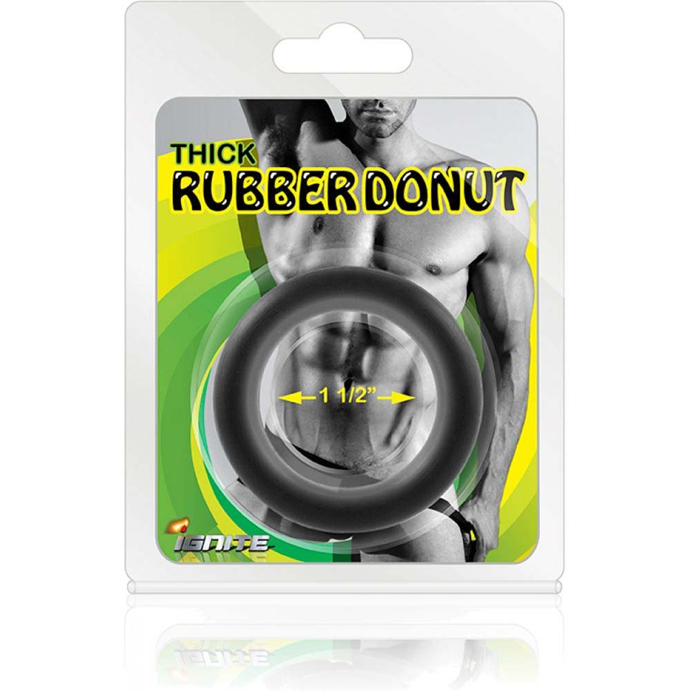 "SI Novelties Thick Rubber Donut 1.5"" Cock Ring Black - View #3"